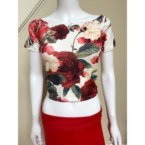 Cropped T shirt with floral print, S